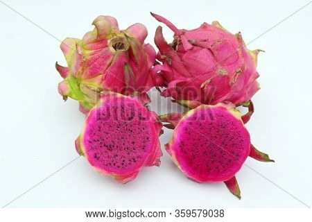 Dragon Fruit Or Pitahaya - Close Up Details Of Dragon Fruit, Dragon Fruit On The Market