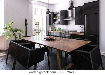 Modern black kitchen and dining area interior with chunky contemporary chairs, table and fitted appliances lit by large windows. 3d render