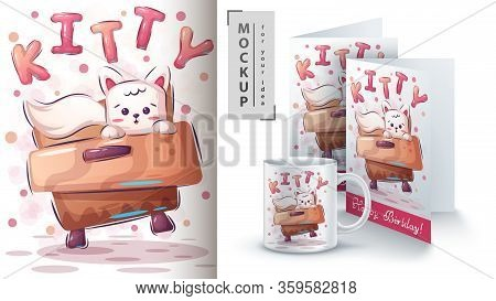Cute Kitty Poster And Merchandising. Vector Eps 10