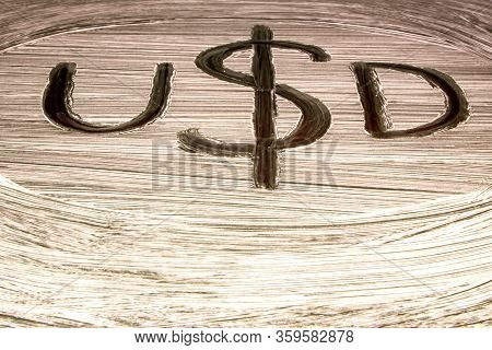 Symbol Of The American Currency On The Background Of The Usa Flag. Dollar Symbol Hand-painted With A