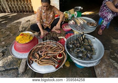 Ho Chi Minh, Vientam - August 25, 2017: Woman Selling Fresh Seafood Including Sea Snakes And Crabs A