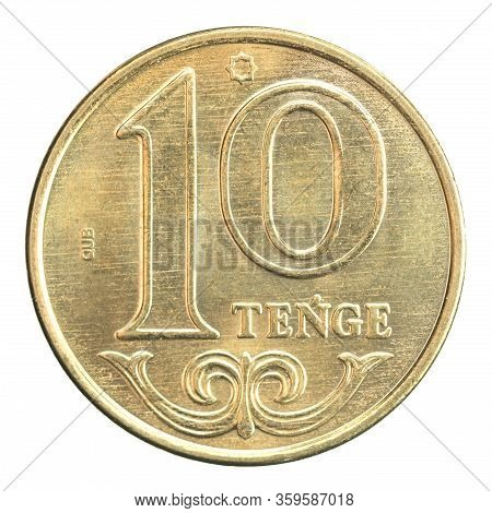 New Coin 10 Tenge, New Sample Of 2020, Isolated On White Background
