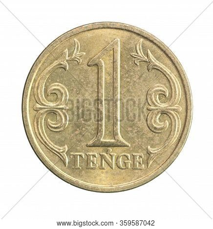 New Coin One Tenge, New Sample Of 2020, Isolated On White Background