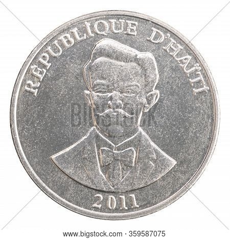 Haitian Centime With Image Of Portrait Of Military Leader Charlemagne Peralt Isolated On White Backg