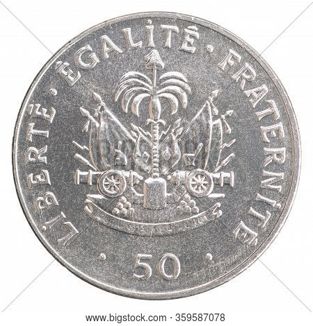 Haitian 50 Centimes With Coat Of Arms Image Isolated On White Background