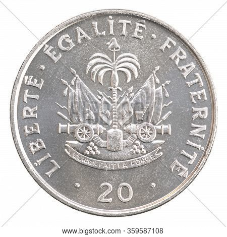 Haitian 20 Centimes With Coat Of Arms Image Isolated On White Background