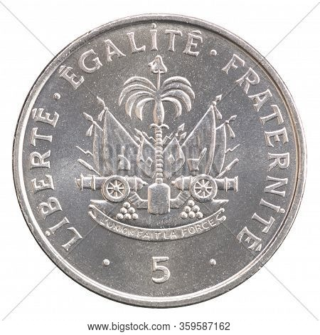 Haitian Five Centimes With Coat Of Arms Image Isolated On White Background
