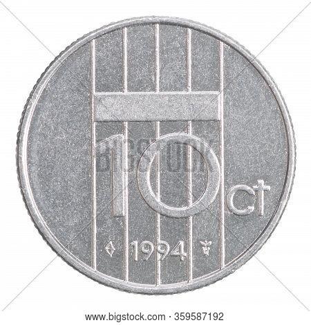 Netherlands 10 Cents Isolated On White Background Close-up