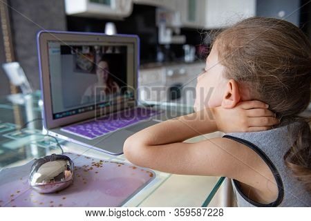 Moscow/russia - April, 05, 2020: School Girl  Is Studying Online. Home Schooling. Distance Education