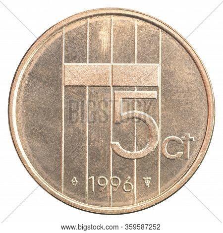 Netherlands 5 Cents Isolated On White Background Close-up