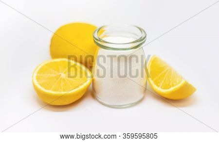 Citric Acid On A White Isolated Background. Selective Focus.
