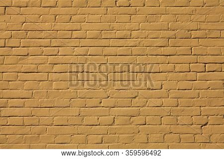 Brick Wall Texture, Background In Camelopard Color (light-brown). The Building Wall, Painted With Co