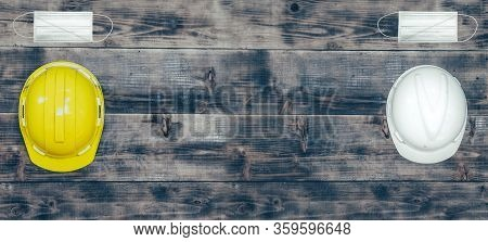 Labor Day Concept On Wood Background. Social Distancing At Least 2 Metres Or 6 Feet Away From Other