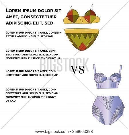 Lace Underwear Set Vs Cotton Set Isolated On White Background.