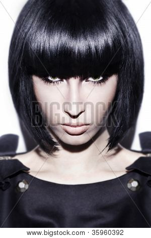 Black Hair Young Sexy Woman Portrait, Studio Shot