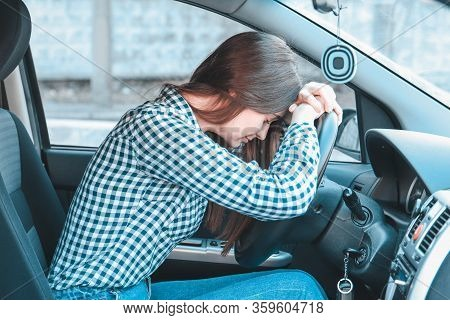 Sad Woman In A Car, Woman Was Involved In A Car Accident