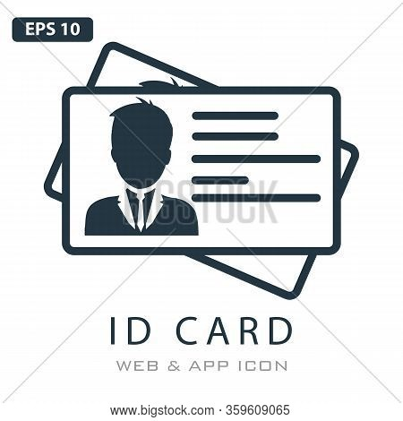 Id Card Outline Icon, Identity Tag On White Background. Driver Licence Business Concept, Identificat