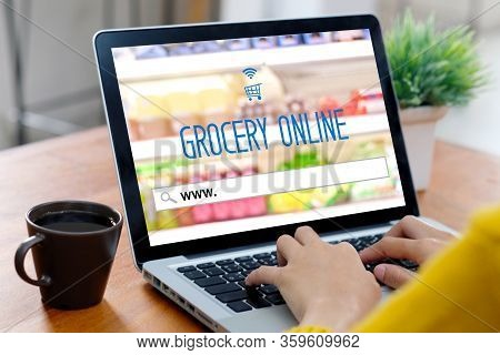 Grocery Online Shop To Order Food Delivery From Supermarket, Woman Hands Using Laptop Computer For S