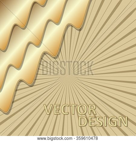 Gold 3d Design, Background Template With 3d Golden Wavy Shapes Composition, Rays On Background. Eleg