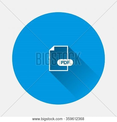 Pdf Icon. Downloads Pdf Document. Vector Colored Icon On Blue Background. Flat Image With Long Shado