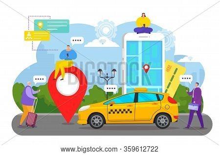 Online Car Service App Vector Illustration. Flat Cartoon Tiny People Order Taxi Cab Using Smartphone