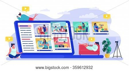 People Viewing Blogger Vector Illustration. Cartoon Flat Woman Characters Watch Online Blog Or Vlog