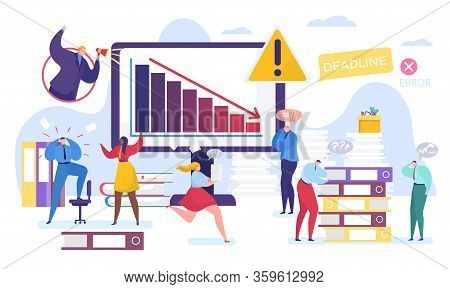 Business Problem Vector Illustration. Cartoon Tiny People Work In Stress, Flat Man Woman Character S