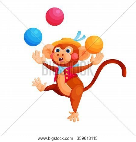 Circus Trained Animal Show Flat Vector Illustration. Monkey Juggles With Balls Cartoon Character. Fu