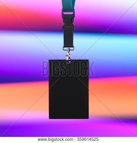 Black Lanyard And Blank Black Badge With Copy Space On Multicolored Gradient Background. Empty Space