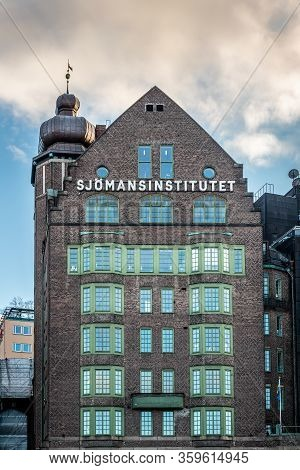 Stockholm, Sweden - March 11, 2020: Facade Front View Of The Famous Old Brick Building The Seaman In