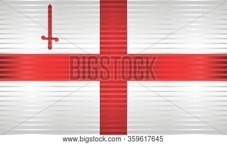 Shiny Grunge Flag Of The City Of London - Illustration,  Three Dimensional Of The City Of London