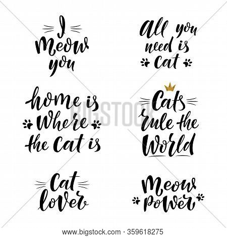 Cute Slogans About Cat. Handwritten Textured Sign For Cat Lovers. I Meow You. Meow Power. Lettering