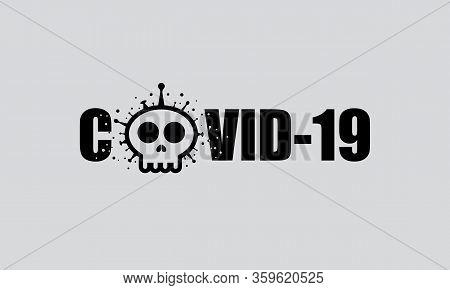 Text With Skull Shape Covid-19 Coronavirus. Vector Illustration Deadly Virus Coronavirus Sars-cov-2