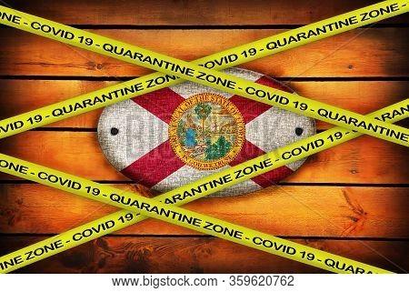 Covid-19 Warning Yellow Ribbon Written With: Quarantine Zone Cover 19 On Florida Flag Illustration.