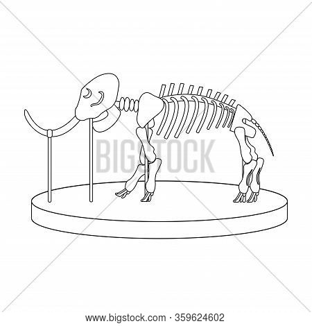 Cartoon Skeleton Of Mammoth On Paleontology In Museum Of Prehistory. White Background Isolated Outli