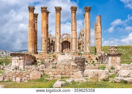 The Temple Of Artemis In Jerash, Jordan. The Temple Was Built On One Of The Highest Points Of The Ci