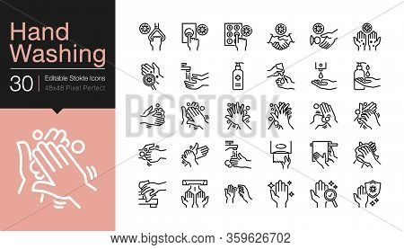 Hand Washing Icons. Hygiene Care, Antibacterial, Protect From Coronavirus (covid-19). Modern Line De