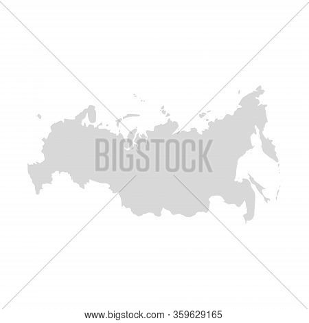 Russia Vector Map, Country Flat Silhouette Border. Russia Digital Map Eurasia.