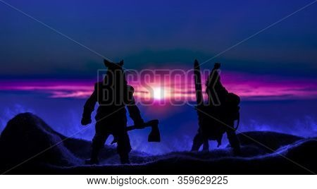 Fantasy Battle Ancient Barbarian Warrior With Sword And Ax Black Silhouette In Abstract Mystic Drama