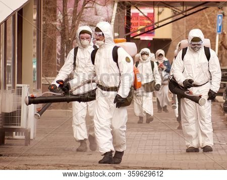 Karaganda, Kazakhstan - 3nd April, 2020 - Meticulous Disinfection And Decontamination On The Streets