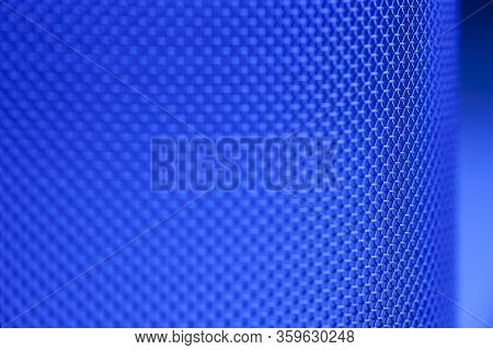 Close-up Of A Mesh Of A Sieve In Blue