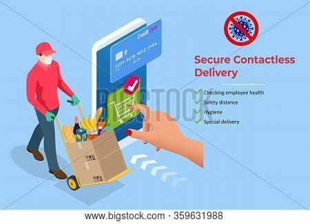Isometric Delivery Man Or Courier In A Medical Mask And Gloves Delivering Food To Customer At Home.