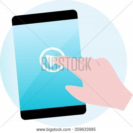 Vector Image Representing The Interaction Of A User With A Smartphone Or Tablet Device Required By T