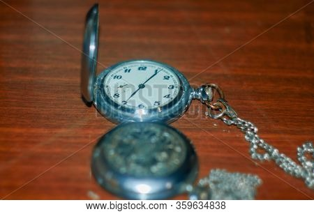 Old Retro Watches On The Table,  An Old Silver Handy Watches, Antique Pocket Watches, Old Silver Poc