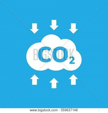 Co2 Emissions Vector Icon. Carbon Gas Cloud, Dioxide Pollution. Global Ecology Exhaust Emission Smog
