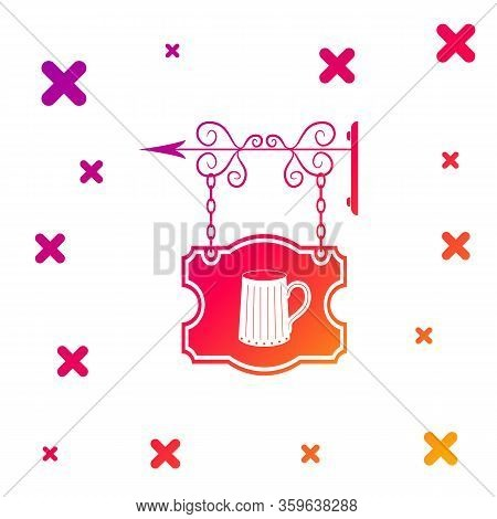 Color Street Signboard Hanging On Forged Brackets With Wooden Mug Of Beer Icon On White Background.