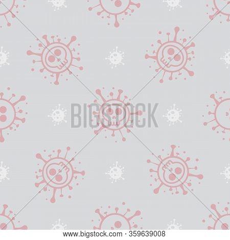 Bacteria Ncov. Coronavirus Sars-cov-2. Skull Shape Covid-19 Coronavirus. Seamless Pattern