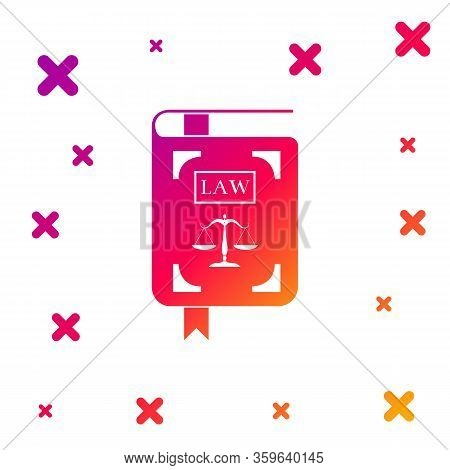 Color Law Book Statute Book With Scales Of Justice Icon Isolated On White Background. Gradient Rando