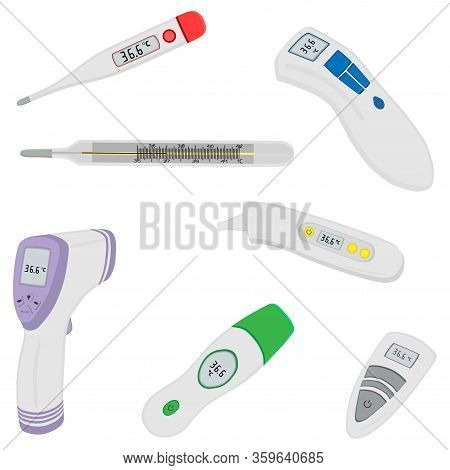 Illustration On Theme Set Different Types Of Thermometers For Prevention Coronavirus. Thermometer Co
