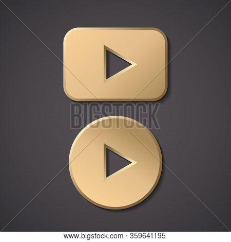 Play Gold Button Vector Icon. Round Arrow Gold Play Button